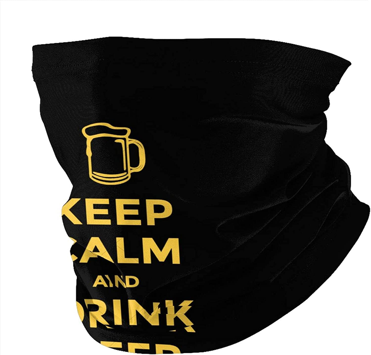 Keep Calm and Have a Beer Seamless Neck Shield Scarf face Shield Seamless UV Protection Motorcycle Riding Running Hood Black