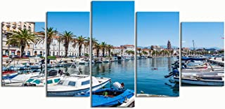 PENGTU Paintings Modern Canvas Painting Wall Art Pictures 5 Pieces, Split Croatia July 12 2017 View,Wall Decor HD Printed Posters Frame