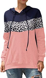 Women Casual Color Block Print Long Sleeve Hoodie Sweatshirt