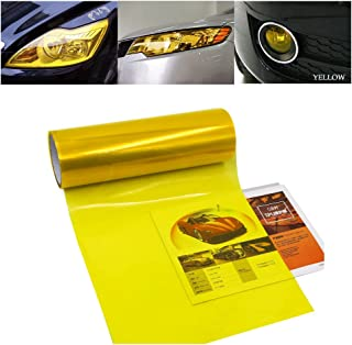 1797 Car Light Tint Film Headlight Fog Light Taillight Yellow Tinted Vinyl Tail Back Color Sticker Self Adhesive Shiny Chameleon Accessories Parts 48''x12'' 1pc