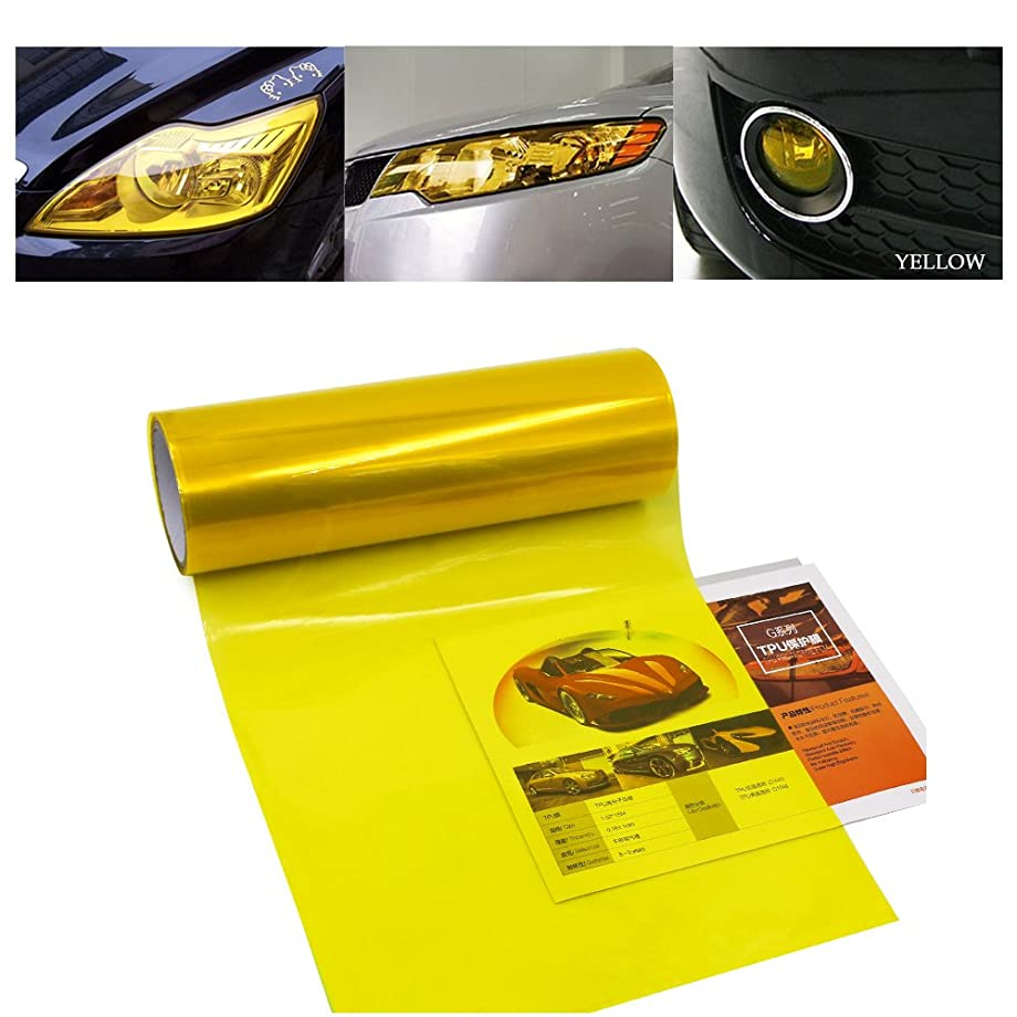 1797 Car Light Tint Film Headlight Fog Light Taillight Yellow Tinted Vinyl Tail Back Color Sticker Self Adhesive Shiny Chameleon Accessories Parts 48''x12'' 1pc