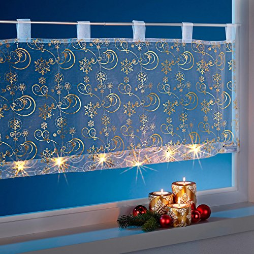 vivaDOMO LED-Bistrogardine, Weihnachtsgardine, Scheibengardine, Vorhang, Lichterkette, Weihnachtsdeko, Sternenmuster, Weihnachtsmotiv, Weihnachtsbeleuchtung, Polyester