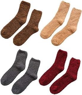 ROVO, 4 pares de calcetines de lana de coral gruesos cálidos de invierno para hombre, calcetines de hogar suaves y esponjosos, calcetines de suelo multicolor