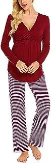 Pijama de Lactancia Invierno Ropa Premamá Hospital Pijama Embarazada Manga Larga Algodon Top y Pantalones Maternidad Conjuntos