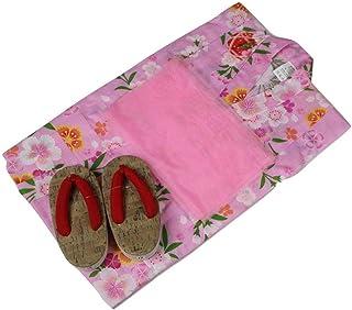 浴衣セット 女の子 ゆかた(桜?まり)ピンク(紅梅織り) 3点セット KWG-9 100/110/120cm