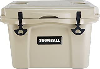 Snowball Rotomolded Cooler with Bottle Holder and Latch Opener Insulation Ice Chest 25L(26QT), Tan