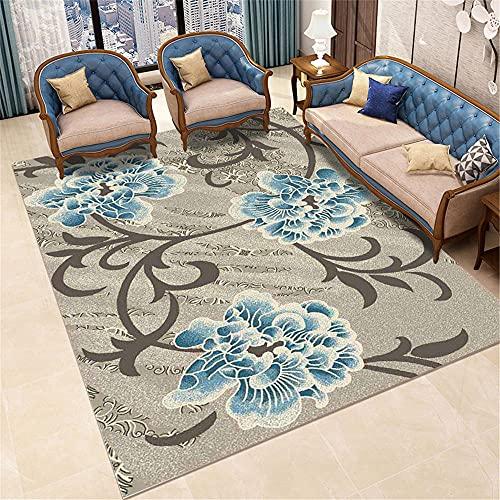 Carpets pastel bedroom accessories Brown blue vintage doodle floral pattern living room sofa carpet kids room decor rug washable rugs non slip 200*300cm