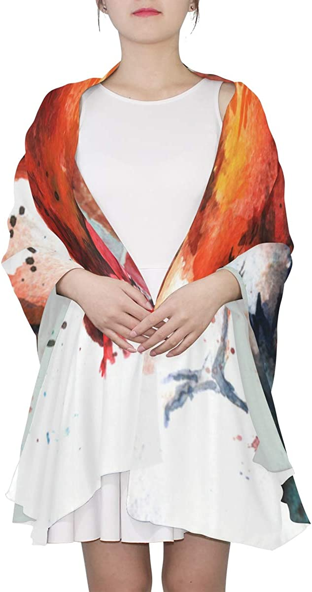 Hand-painted Cartoon Cock Unique Fashion Scarf For Women Lightweight Fashion Fall Winter Print Scarves Shawl Wraps Gifts For Early Spring