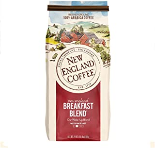 New England Coffee, New England Breakfast Blend, Medium Roast Ground Coffee, 24 Ounce Bag