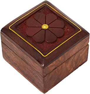 Hashcart Handcrafted Trinket   Ring Box - with Beautiful Brass Inlay Work (2x2 inch) - Decorative Box