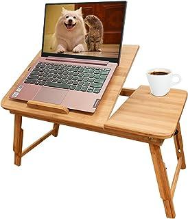 Sannobel Support réglable pour ordinateur portable, bureau pliable en bambou avec tiroirs de rangement, hauteur et angle r...