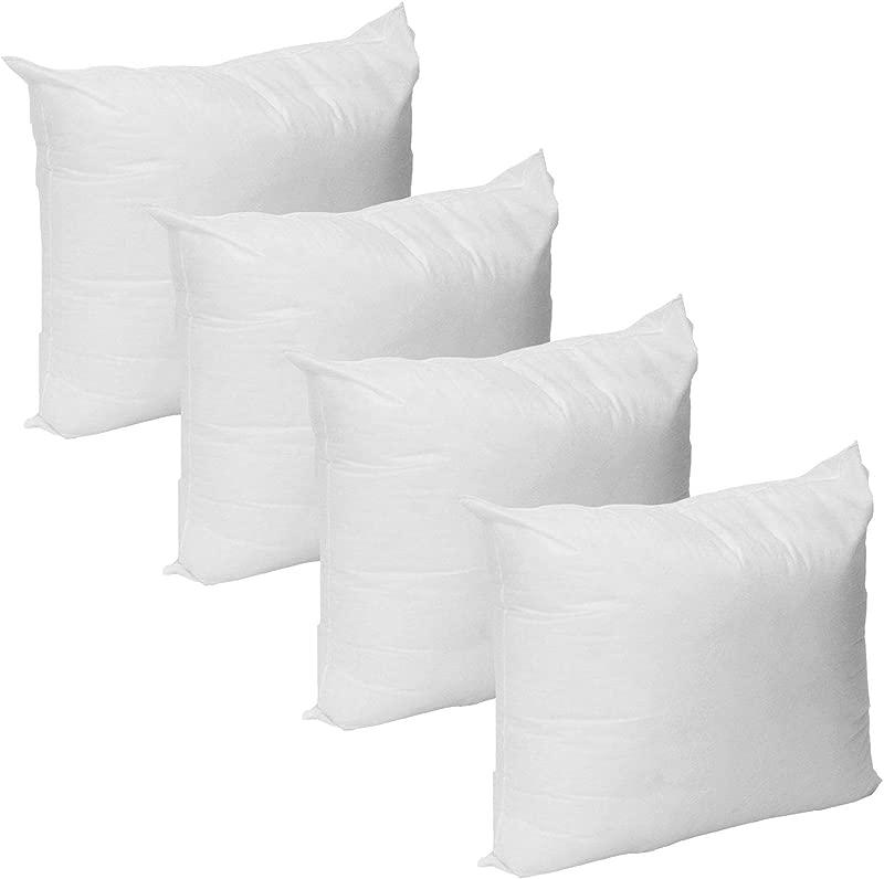Mybecca Set Of 4 Premium Hypoallergenic Firm Throw Pillow Insert Stuffer Pillow Insert White 18 L X 18 W 4 Pack Pillow Form Insert Made In USA