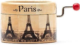 Piccolo carillon decorato con la Torre Eiffel di Parigi e la melodia La vie en rose