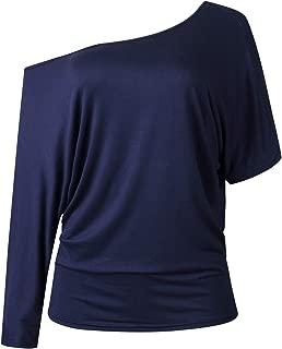 SZIVYSHI Long Sleeve Batwing Dolman Sleeve Asymmetrical One Shoulder Draped Drape T-Shirt Tee Blouse Shirt Top