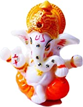 "JB Premium 2.5"" Mini Lord Ganesh/Ganesha Statue Poly Marble Idol. Hindu God of Success (Orange) - For Car/Vehicle dashboar..."