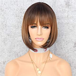 Sapphirewigs Natural Black Ombre Brown Ombre Black Simulated Scalp Machine No-Lace Daily Wigs With Bangs (6'')