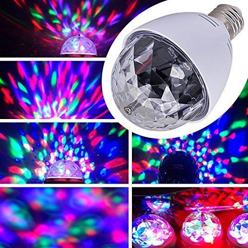 E27 3W Partylicht DJ LED RGB Licheffekt Rotierende Farblicht Birnen Lampen für Weihnachtsparty Disco Musik LED Beleuchtung (Weiß)