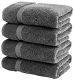 White Classic Luxury Bath Towels Large - Cotton Hotel spa Bathroom Towel | 27x54 | 4 Pack | Grey