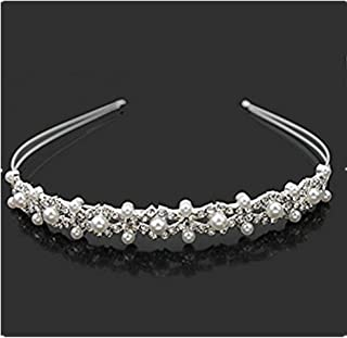 Vemonllas Wedding Party Bridal Flower Girl Double Faux Pearl Crown Headband Tiara