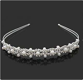Vemonllas Wedding Party Bridal Flower Girl Double Faux Pearl Crown Headband Tiara