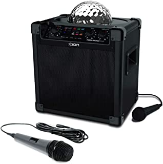$137 Get ION Audio Party Rocker Plus | Rechargeable Speaker with Spinning Party Lights & Karaoke Effects with Dynamic Microphone with 10 Ft. Cord
