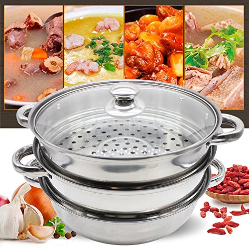 3 Tier Steamer Stainless Steel, Housewares Steamer with Glass Lid 28 cm Kitchen Cookware Cooking Steam Pot Cooker Stainless Steel