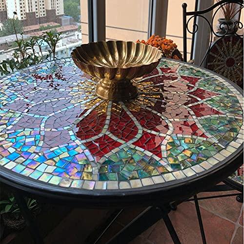 XIAOLIN Mesa Auxiliar De Mosaico, Jardín Al Aire Libre Tile Top Escritorio De Acento con Vidrio Pintado A Mano Redondo, 23.6