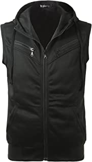 uxcell Men Kangaroo Pocket Zip up Drawstring Hooded Vest