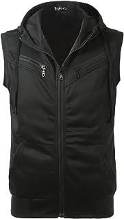 uxcell Men Kangaroo Pocket Zip up Drawstring Hooded Vest