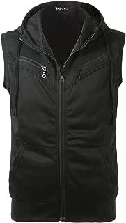 Men Kangaroo Pocket Zip Up Drawstring Hooded Sleeveless Vest