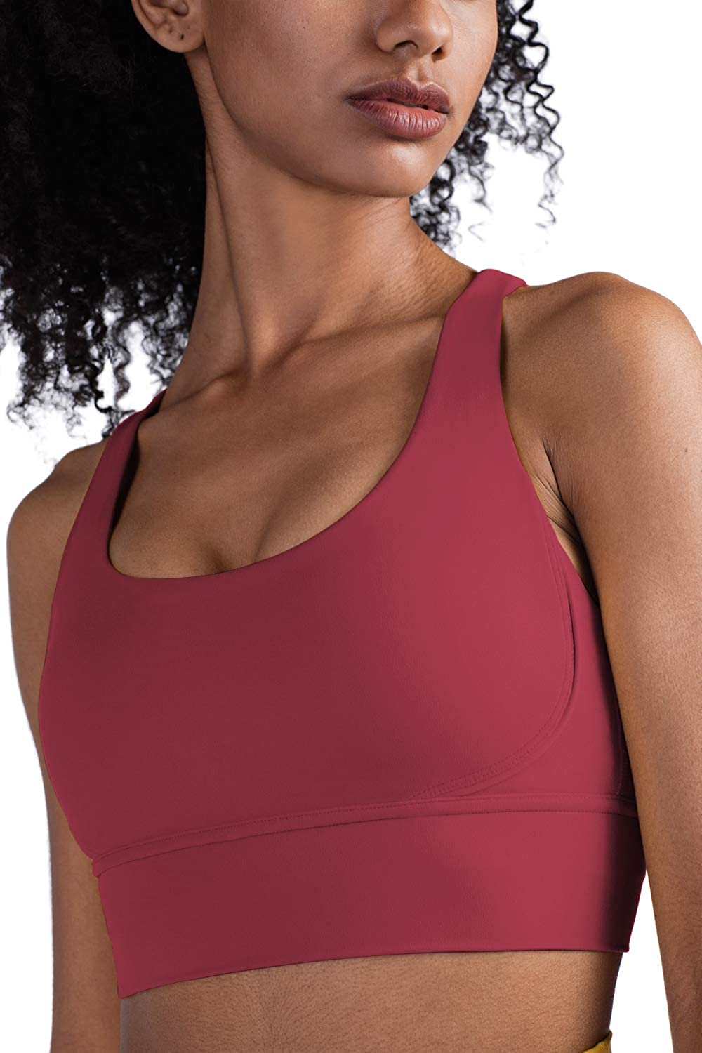 Womens Crop Top Sports Bra Strappy Longline Padded High Impact Workout Yoga Tank Camisole