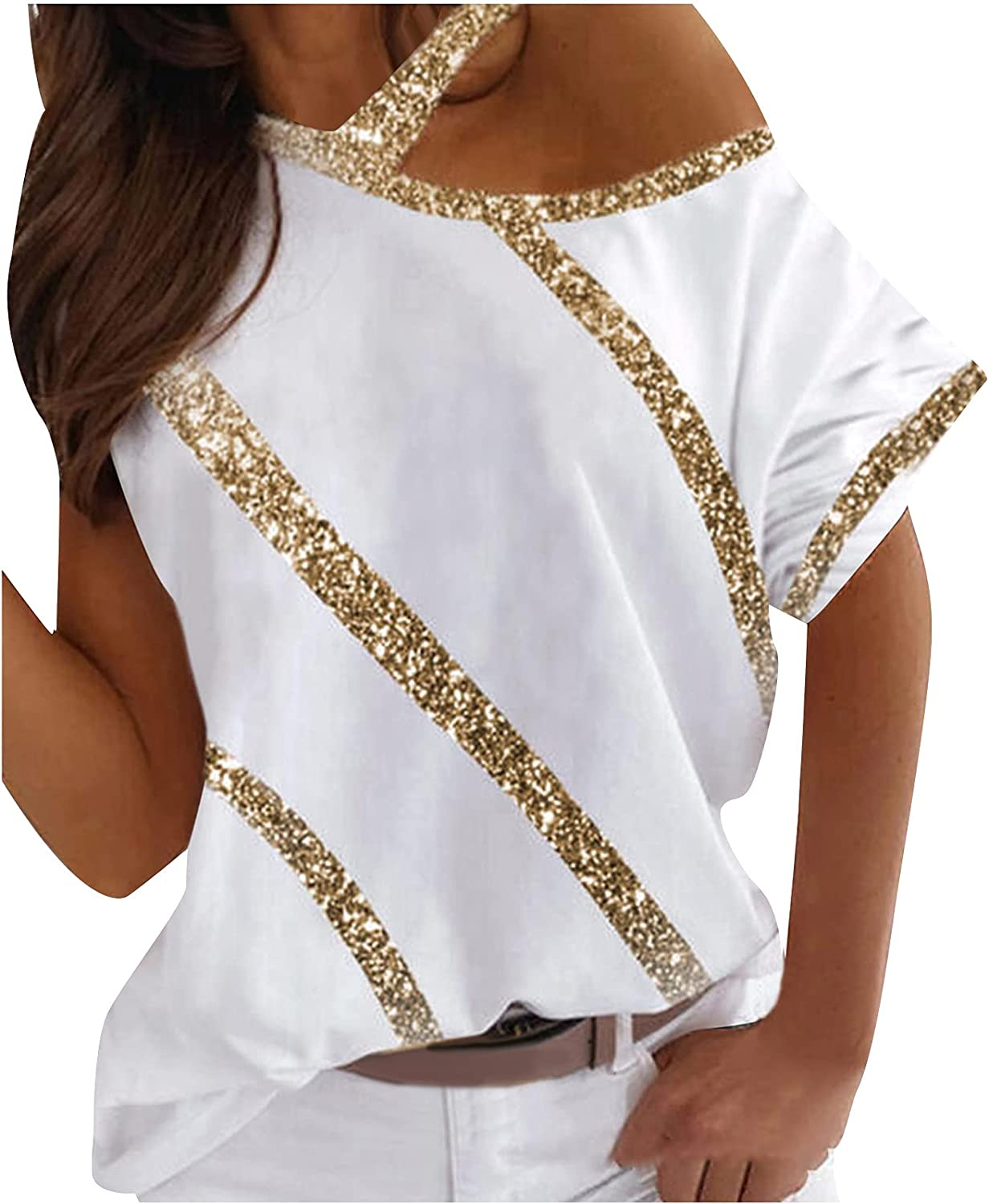 Womens Summer Tops Ladies Casual Printed Off Shoulder Halterneck Short-Sleeved T-Shirt Top Blouses for Women Fashion
