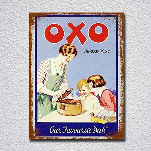 Panneau en métal style rétro vintage OXO - 20 x 30 cm