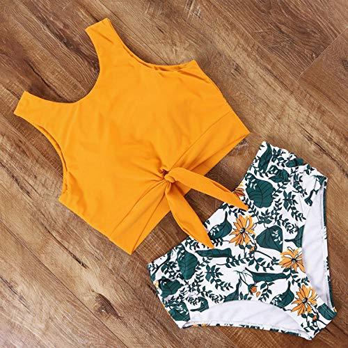 xingfuchangshou Bikini De Cintura Alta para Mujer, Traje De Baño con Estampado De Leopardo, Traje De Baño con Cuello Alto Y Estampado Floral, Traje De Baño Push-Up-B3735Bp_M