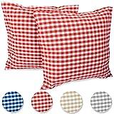 FILU Funda de cojín de 50 x 50 cm, 2 unidades (color a elegir), diseño de cuadros rojos/blancos, 100% algodón, decoración para cualquier habitación, jardín y terraza