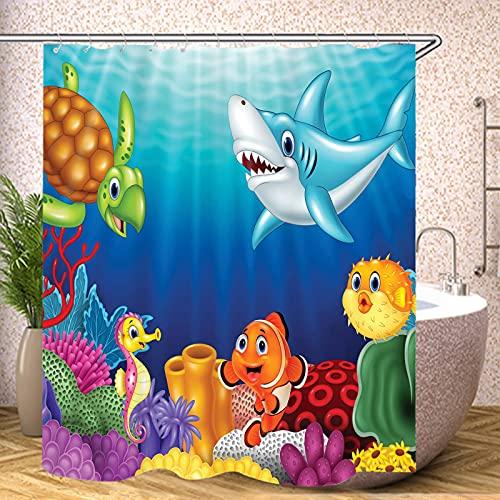 Fgolphd Duschvorhang Finding Nemo 120x200 180x200180x180 200x240 Clownfish Bunt Pink Blau, 3D-Druck 100prozent Polyester,Shower CurtainsWasserdicht?Ocean World (16,120 x 200 cm)