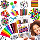 Blue Squid Arts & Craft Supplies for Kids – 1250+pcs in Easy Store Bag, Kids Craft Art Supply, Kids Scrapbooking Craft Set, DIY Crafting Kit, Pipe Cleaners Pom Poms Googly Eyes Feathers Age 4 to 12