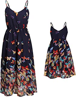 Mommy and Me Vintage Butterfly Floral Printed Spaghetti Straps V-Neck Party Beach Cami Dress