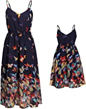PopReal Mommy and Me Vintage Butterfly Floral Printed Spaghetti Straps V-Neck Party Beach Cami Dress