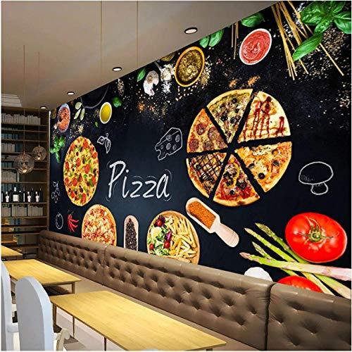 Mural Fotográfico Papel tapiz 3D panorámico mural no tejido, tienda de pizza personalizada, pizarra, impresión en HD, tapiz personalizado, póster fotográfico, pared