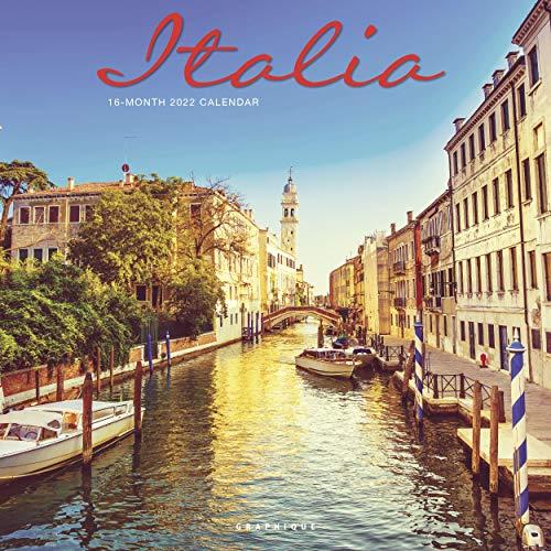 "Graphique Italia Wall Calendar, 16-Month 2022 Calendar, 12""x12"" with Historic Italian Landmark Photographs, 3 Languages & Marked Holidays"