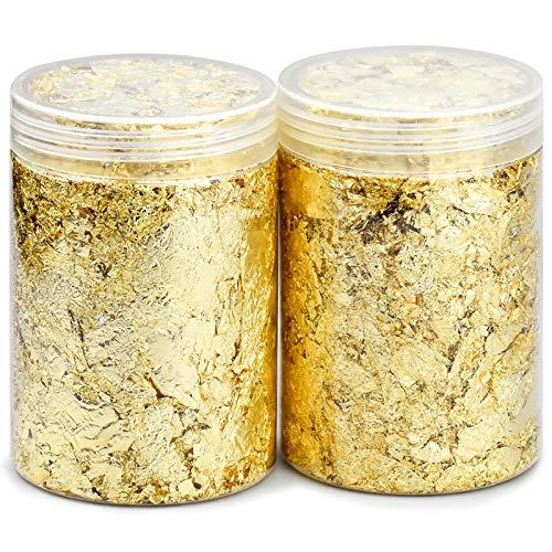 Kupink 2 Botellas Copos de Lámina de Oro Copos Pan Aluminio Imitación Copos Hojas Metálicos para Uñas Pintar Arte Manualidad