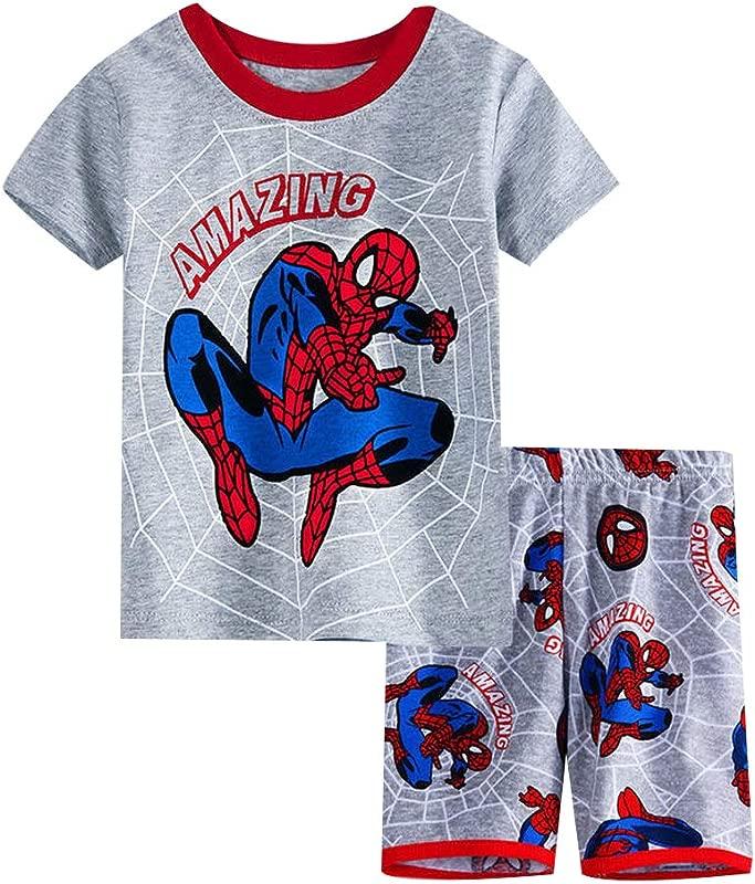 Fribro Boy Short 2 Piece Pajama Set Spider Man 100 Cotton Summer Size 2 7Yrs For Toddler