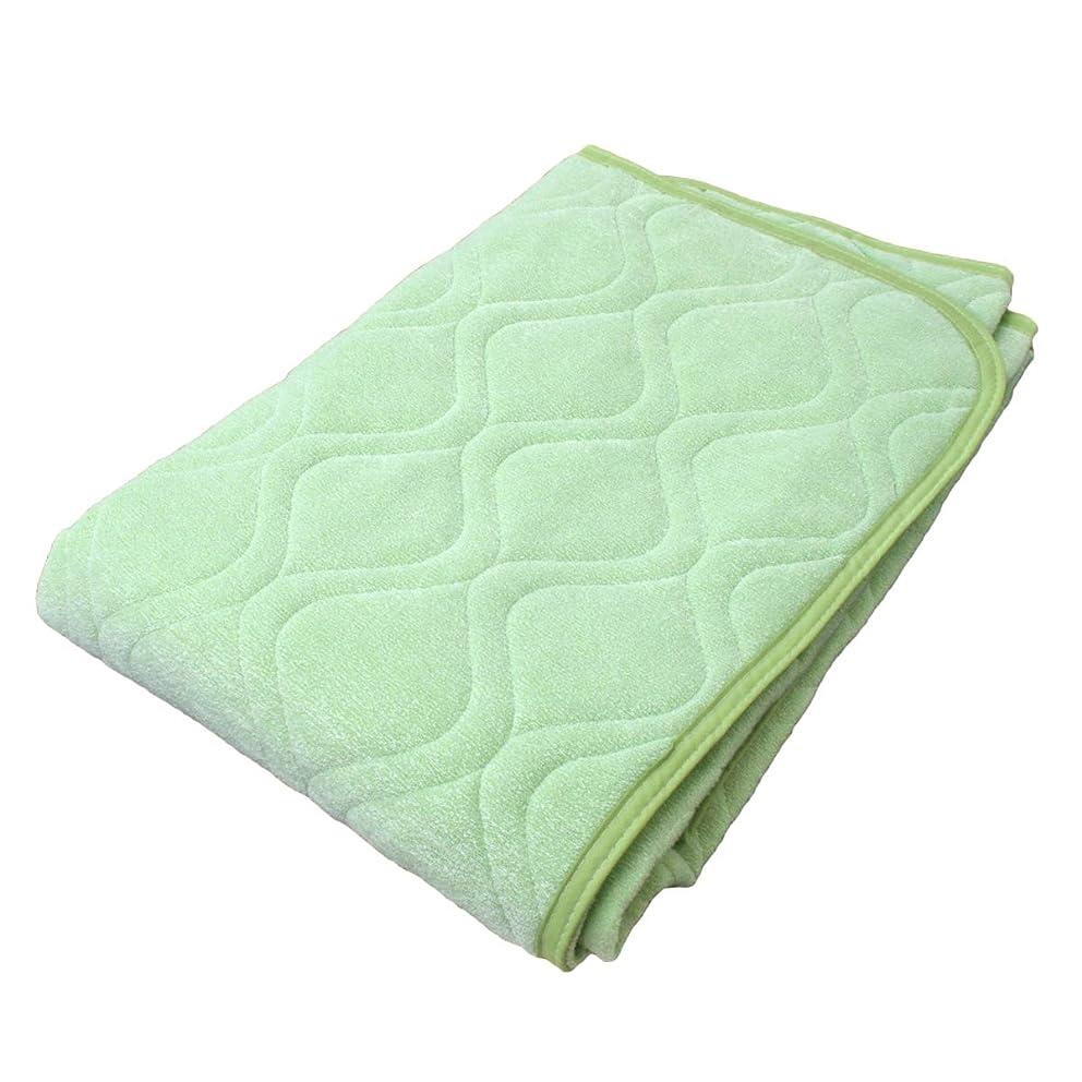 花作者胆嚢冷感 パイル 敷きパッド シングルサイズ 100×205cm No55 (グリーン)