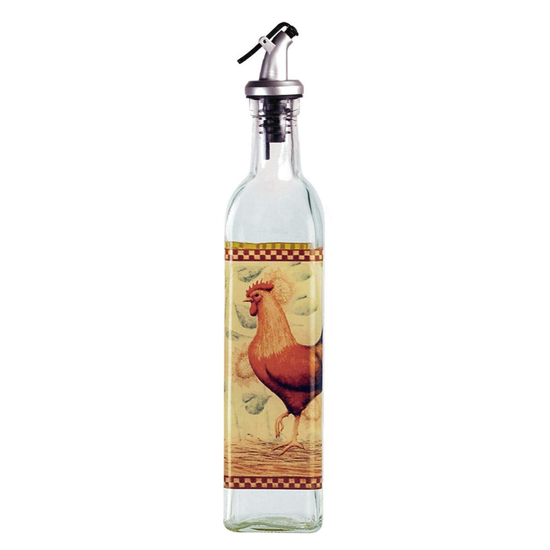 oldzon 39264 Rooster Glass Oil & Vinegar Cruet Dispenser Bottle, 16 Ounce with Ebook