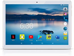 Android Tablet 10 inch with 2.5D Curved Glass IPS Screen, Unlocked Wi-Fi 3G Phablet 4 GB RAM 64 GB Storage Dual Cameras, Supports Bluetooth GPS (Silver)