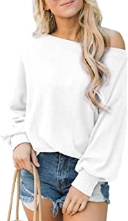 GUOCAI Women Casual Loose Fit Cold Shoulder Long Sleeve Waffle Knitted T-shirt