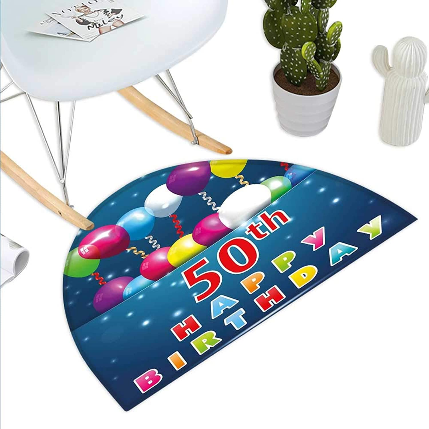 50th Birthday Semicircle Doormat Joyful Mood Occasion Surprise colorful Lettering Stars Balloons and Ribbons Halfmoon doormats H 43.3  xD 64.9  Multicolor