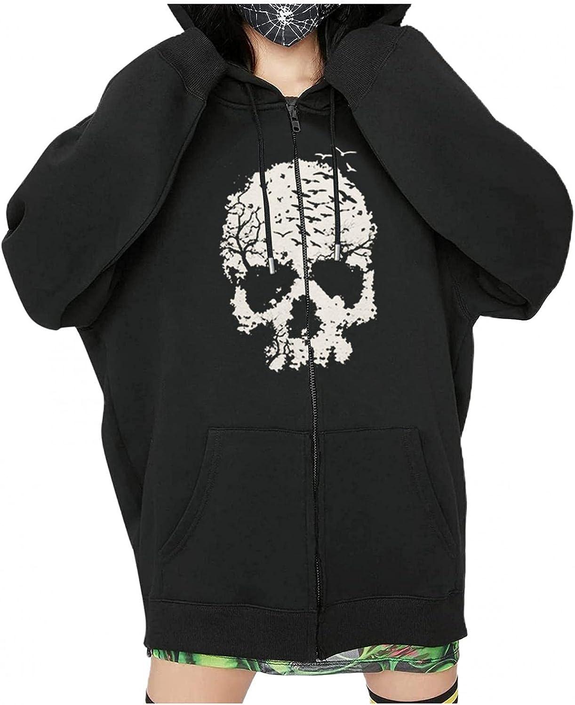 Tavorpt Women's Y2k Vintage Graphic Zip Up Hoodie Casual kull Print Sweatshirt Long Sleeve Drawstring Hooded Streetwear