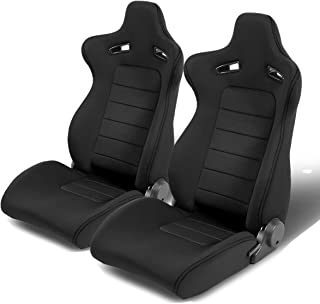 Fits Pair of Classic Bucket Seats With Sliders Suede Black urethane Faux Leather